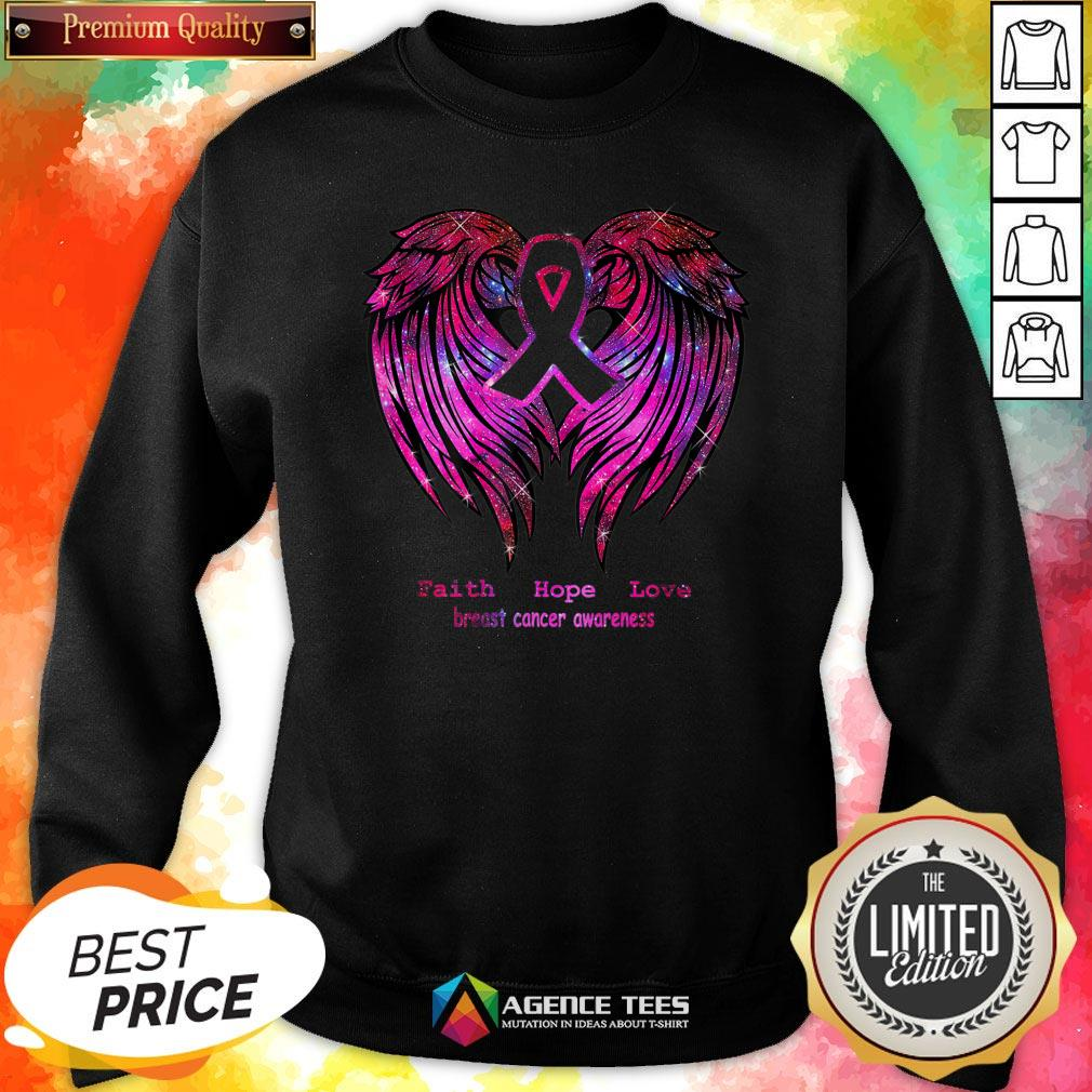 Nice Faith Hope Love Breast Cancer Awareness Pink Wings Sweatshirt Design By Agencet.com