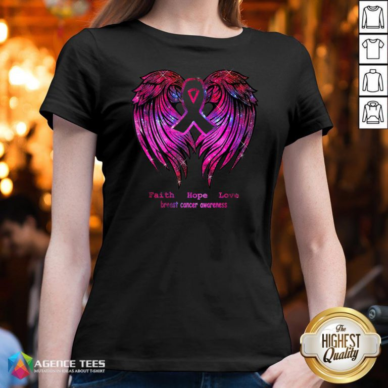 Nice Faith Hope Love Breast Cancer Awareness Pink Wings V-neck Design By Agencet.com