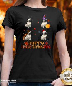 Nice Pug Dog Happy Hallothanksmas V-neck Design By Agencet.com