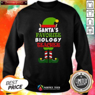 Nice Santa's Favorite Biology Teacher Elf Christmas Funny Sweatshirt Design By Agencet.com