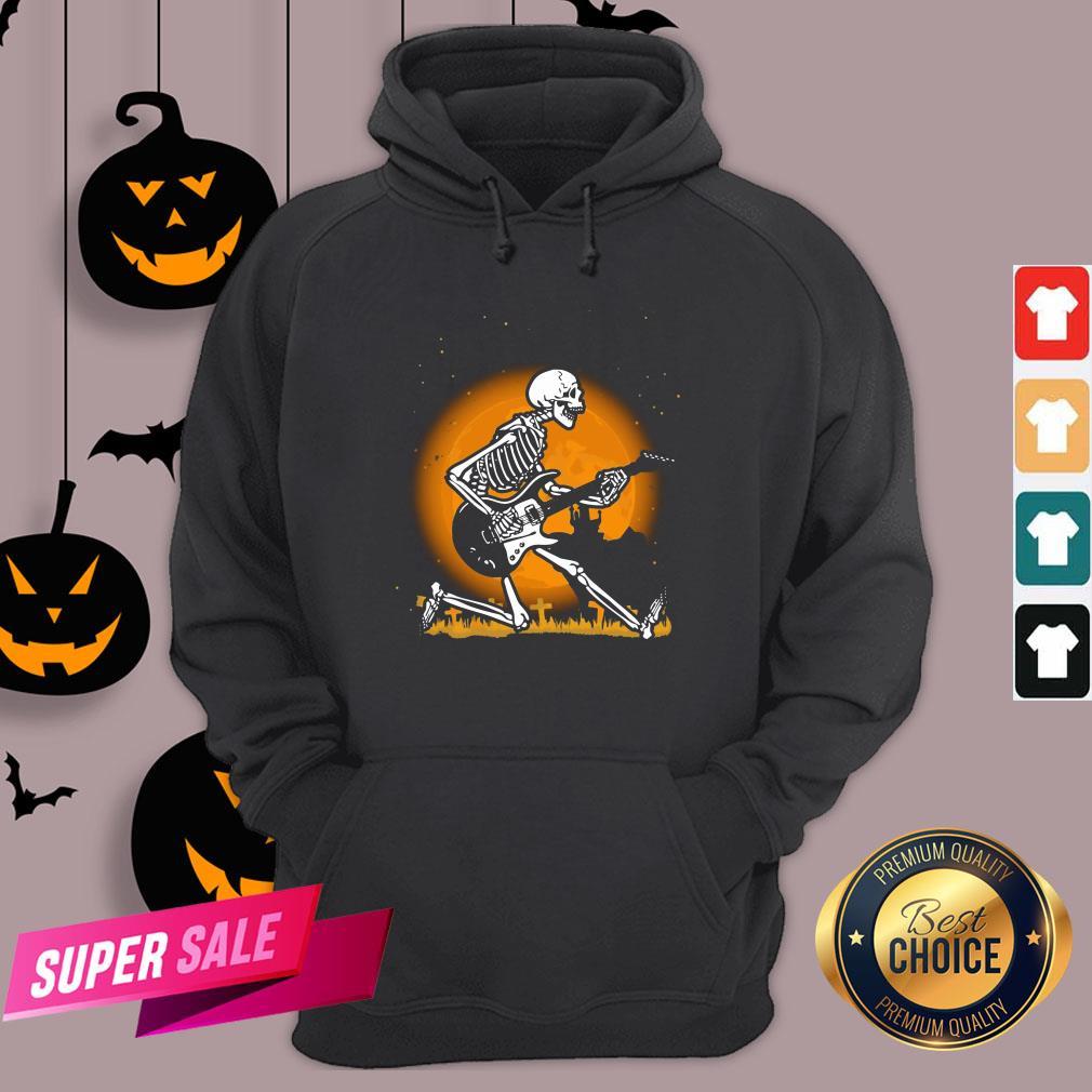 Nice Skeleton Guitar Happy Halloween Hoodie Design By Agencet.com