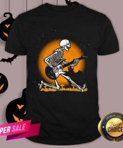 Nice Skeleton Guitar Happy Halloween Shirt Design By Agencet.com