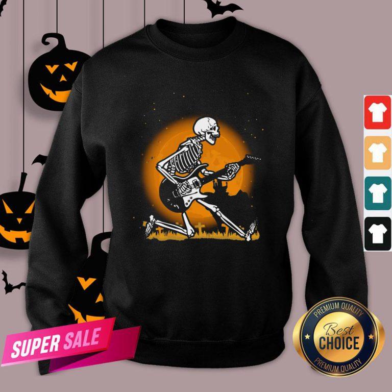 Nice Skeleton Guitar Happy Halloween Sweatshirt Design By Agencet.com