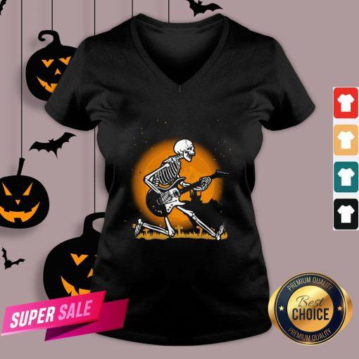 Nice Skeleton Guitar Happy Halloween V-neck Design By Agencet.com