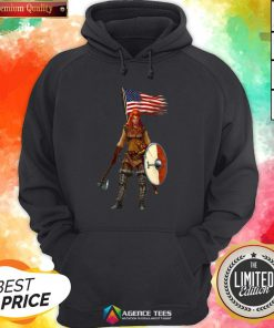 Nice Viking Lady American Flag Hoodie Design By Agencet.com