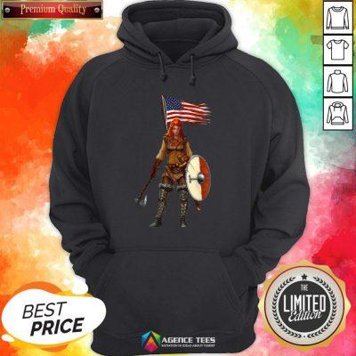 Nice Viking Lady American Flag Hoodie Design By Agencet.com