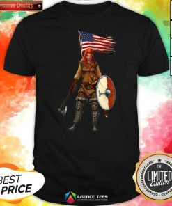 Nice Viking Lady American Flag Shirt Design By Agencet.com