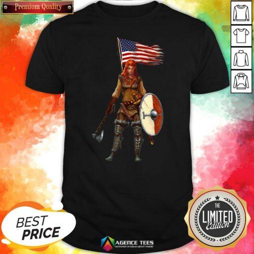 Nice Viking Lady American Flag Shirt Design By Agencet.com