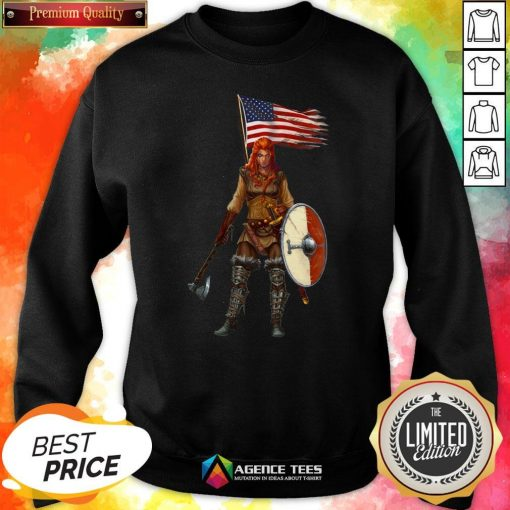 Nice Viking Lady American Flag Sweatshirt Design By Agencet.com
