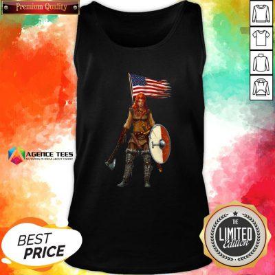 Nice Viking Lady American Flag Tank Top Design By Agencet.com