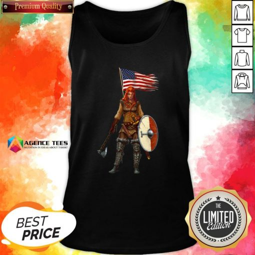 Nice Viking Lady American Flag Tank Top Design By Agencet.com