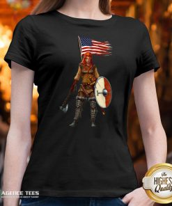 Nice Viking Lady American Flag V-neck Design By Agencet.com