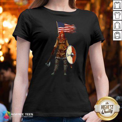 Nice Viking Lady American Flag V-neck Design By Agencet.com