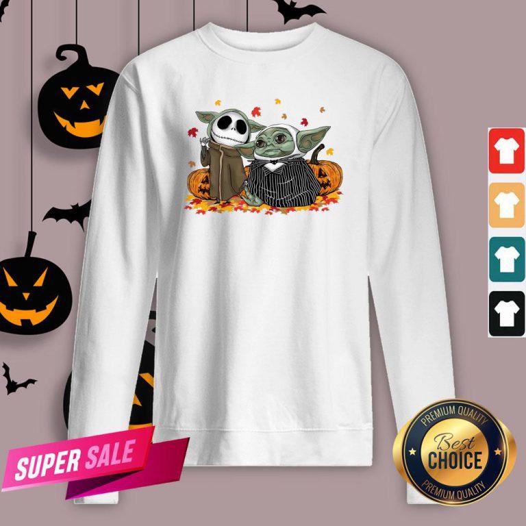 Official Baby Yoda And Baby Jack Skellington Pumpkin Halloween Sweatshirt