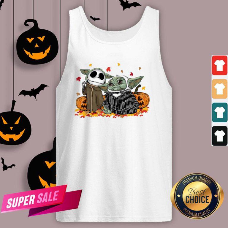 Official Baby Yoda And Baby Jack Skellington Pumpkin Halloween Tank Top