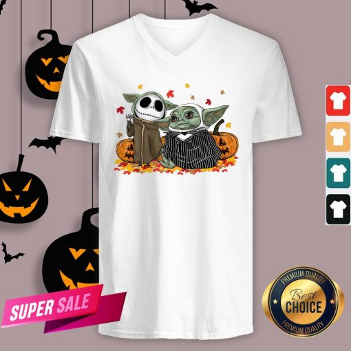 Official Baby Yoda And Baby Jack Skellington Pumpkin Halloween V-neck