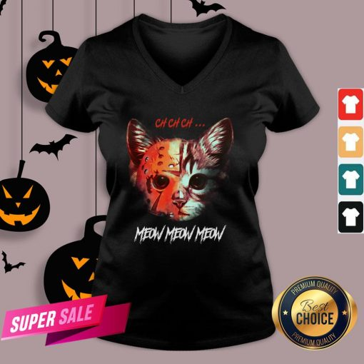 Official Jason Voorhees Cat Ch Ch Ch Meow Meow Meow V-neck