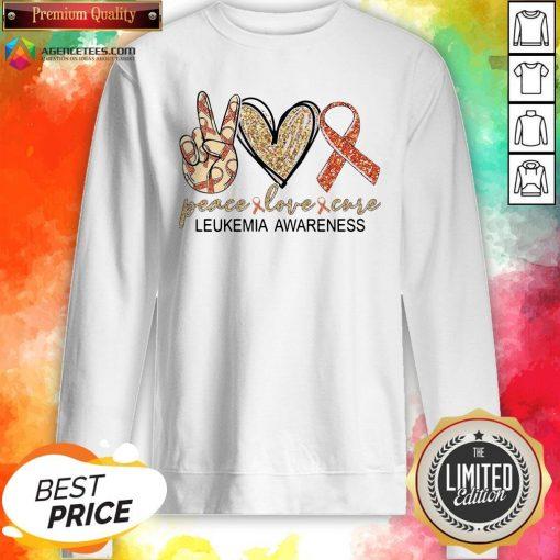 Official Peace Love Cure Leukemia Awareness Diamond Sweatshirt