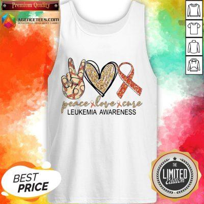 Official Peace Love Cure Leukemia Awareness Diamond Tank Top
