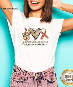 Official Peace Love Cure Leukemia Awareness Diamond Hoodie