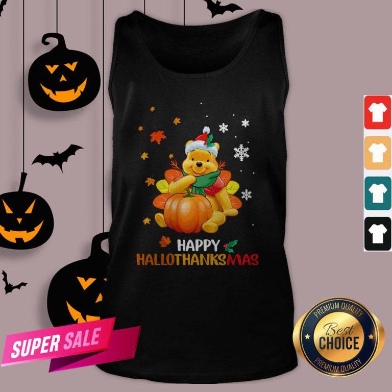 Pooh Bear Happy Hallothanksmas Tank Top