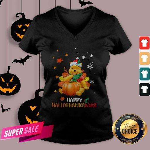 Pooh Bear Happy Hallothanksmas V-neck