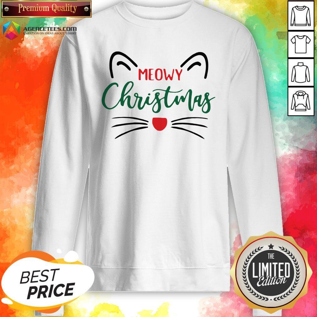 Premium Meowy Christmas Sweatshirt Design By Agencet.com