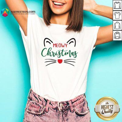 Premium Meowy Christmas V-neck Design By Agencet.com