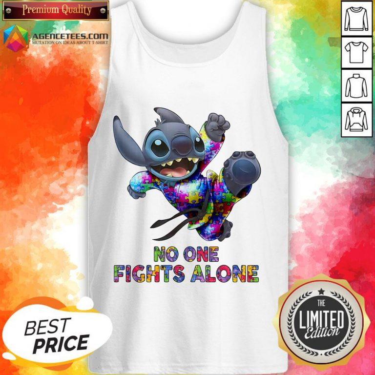 Stitch Autism No One Fights Alone Tank Top