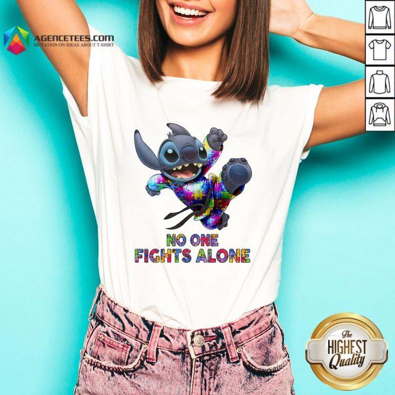 Stitch Autism No One Fights Alone V-neck