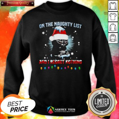 Top Cat On The Naughty List And I Regret Nothing Christmas Sweatshirt Design By Agencet.com