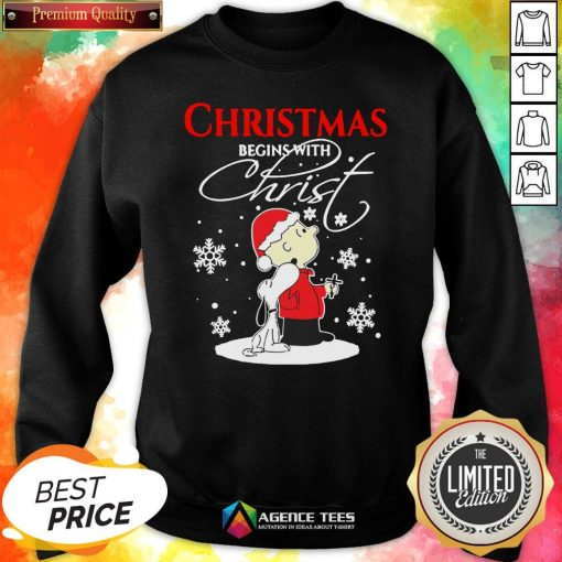 Top Christmas Begins With Christ Charlie Brown Snoopy Sweatshirt Design By Agencet.com