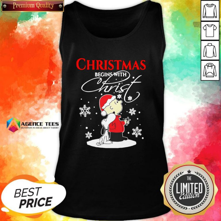 Top Christmas Begins With Christ Charlie Brown Snoopy Tank Top Design By Agencet.com
