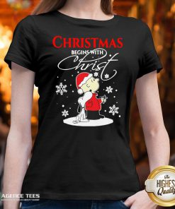 Top Christmas Begins With Christ Charlie Brown Snoopy V-neck Design By Agencet.com