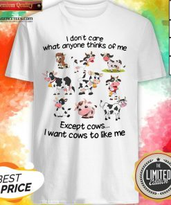 Top I Don't Care What Anyone Thinks Of Me Except Cows I Want Cows To Like Me Shirt Design By Agencet.com