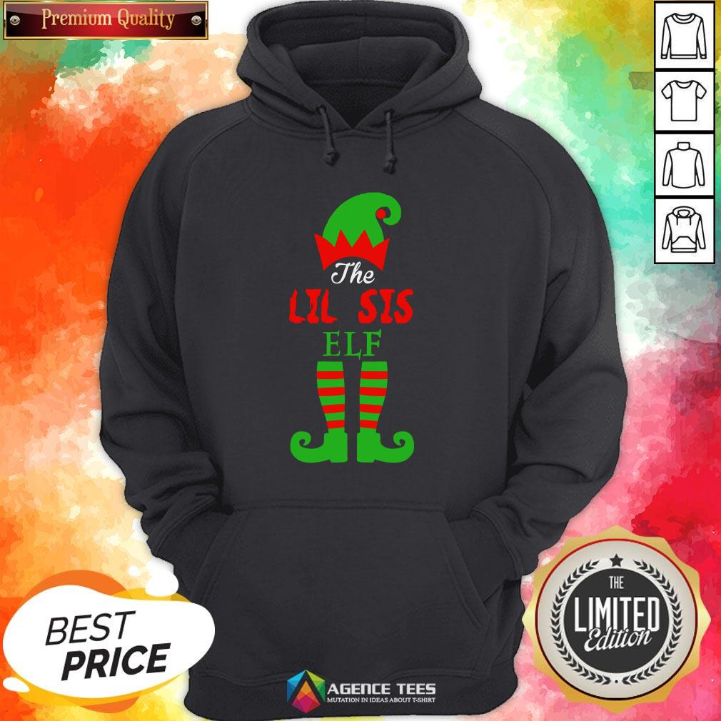 Top The Lil Sis Elf Christmas Funny Hoodie Design By Agencet.com