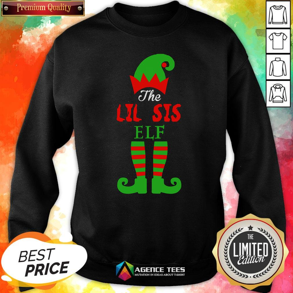 Top The Lil Sis Elf Christmas Funny Sweatshirt Design By Agencet.com