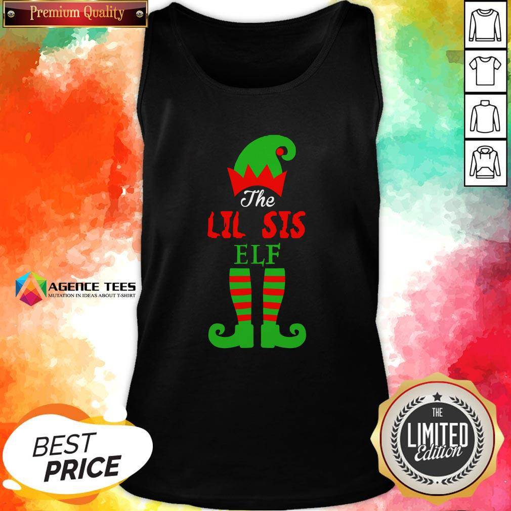 Top The Lil Sis Elf Christmas Funny Tank Top Design By Agencet.com