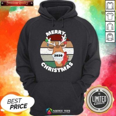 Funny Merry Christmas 2020 Reindeer Wear Mask Vintage Hoodie - Design By Agencetees.com