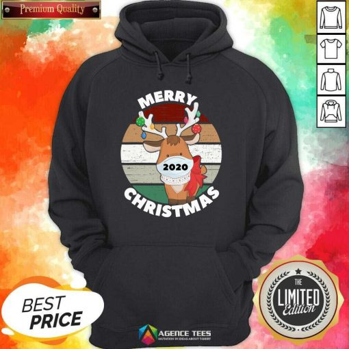 Funny Merry Christmas 2020 Reindeer Wear Mask Vintage Hoodie - Design By Agencetees.com