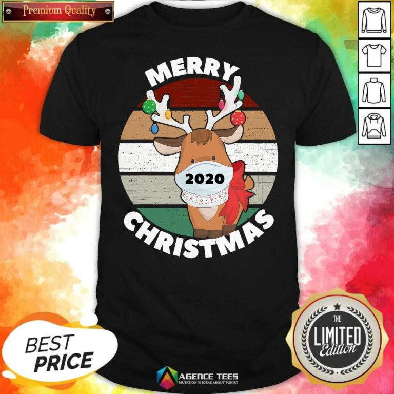 Funny Merry Christmas 2020 Reindeer Wear Mask Vintage Shirt - Design By Agencetees.com
