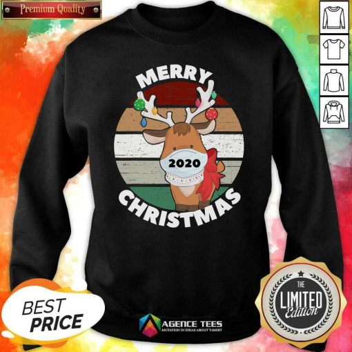 Funny Merry Christmas 2020 Reindeer Wear Mask Vintage Sweatshirt - Design By Agencetees.com