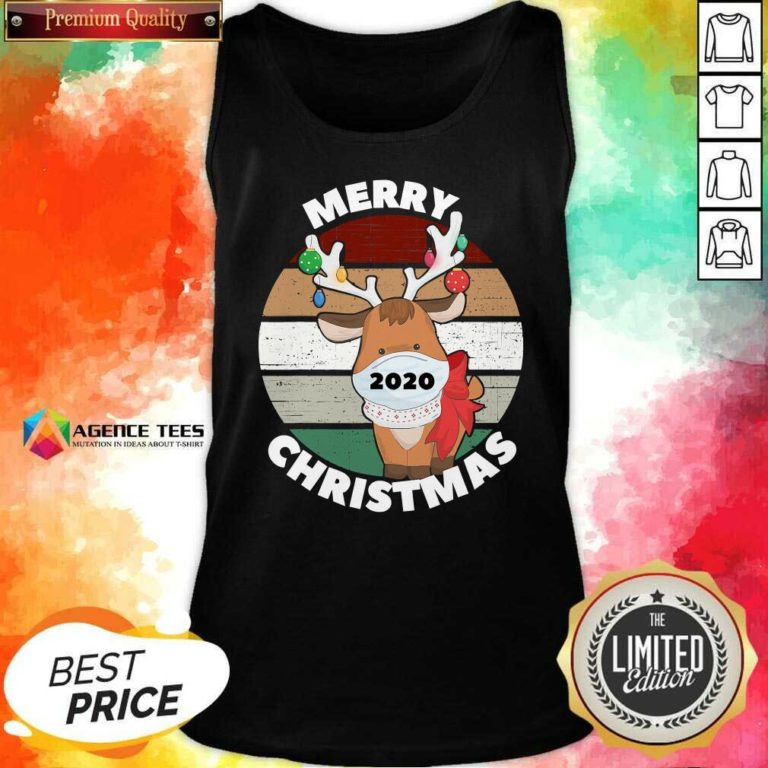 Funny Merry Christmas 2020 Reindeer Wear Mask Vintage Tank Top - Design By Agencetees.com