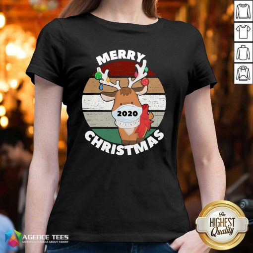 Funny Merry Christmas 2020 Reindeer Wear Mask Vintage V-neck - Design By Agencetees.com