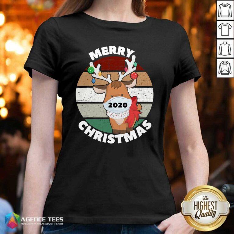Funny Merry Christmas 2020 Reindeer Wear Mask Vintage V-neck - Design By Agencetees.com