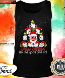 Merry Christmas Let The Good Time Roll Santa Face Mask 2020 Toilet Paper Xmas Tree Tank Top - Design By Agencetees.com