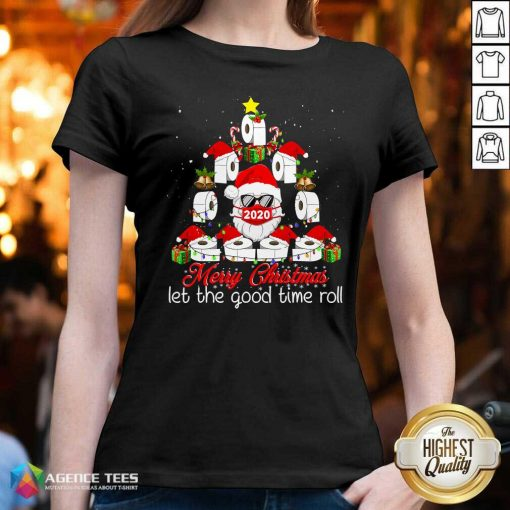 Merry Christmas Let The Good Time Roll Santa Face Mask 2020 Toilet Paper Xmas Tree V-neck - Design By Agencetees.com