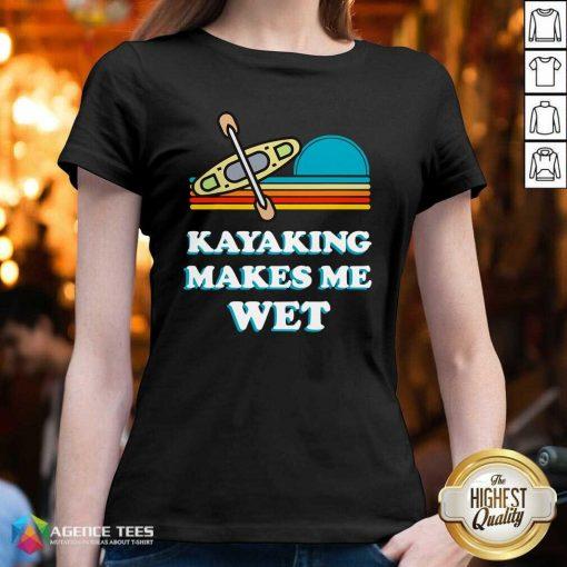 Nice Kayaking Makes Me Wet Funny Kayak Pun Vintage V-neck - Design By Agencetees.com