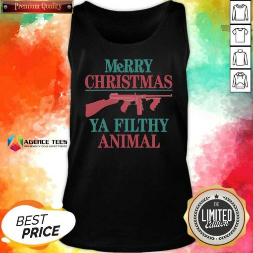 Nice Merry Christmas Gun Ya Filthy Animal Tank Top - Design By Agencetees.com