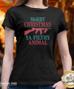 Nice Merry Christmas Gun Ya Filthy Animal V-neck - Design By Agencetees.com